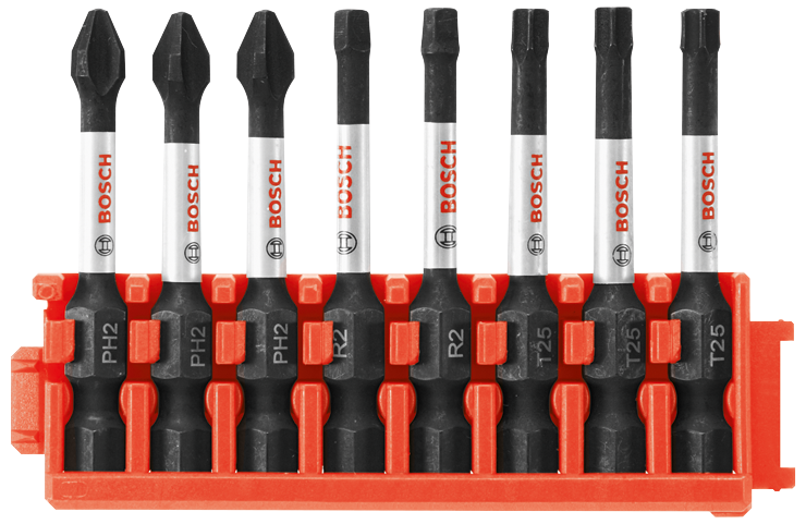 CCSV208 8 pc. Impact Tough™ Phillips®, Square and Torx® 2 In. Power Bits with Clip for Custom Case System