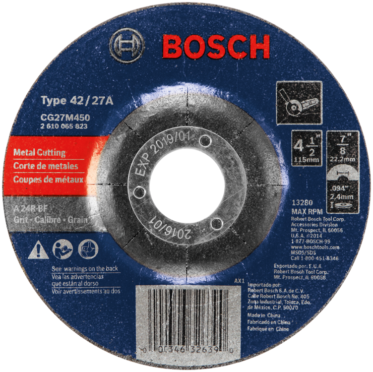 CG27M450 4-1/2 In. 3/32 In. 7/8 In. Arbor Type 27 24 Grit Light Grinding/Metal Cutting Abrasive Wheel