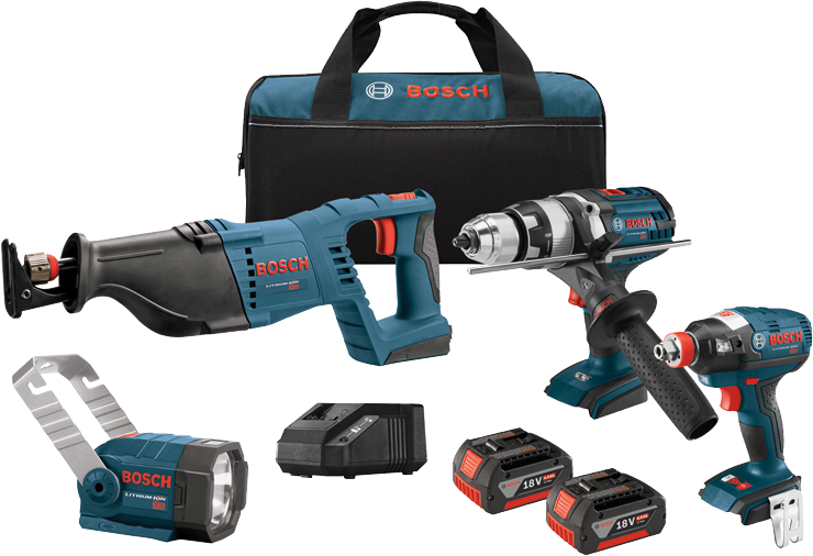 CLPK414-181 18 V 4-Tool Combo Kit with 1/2 and 1/4 In. Socket Ready Impact Driver, 1/2 In. Hammer Drill/Driver, Reciprocating Saw and Flashlight