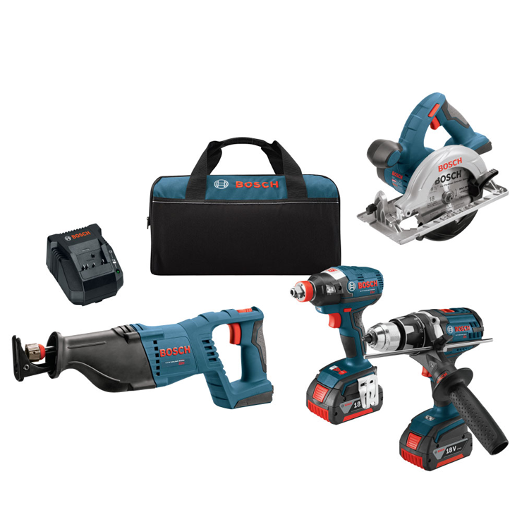 CLPK430-181 18 V 4-Tool Combo Kit with EC Brushless 1/4 In. and 1/2 In. Socket-Ready Impact Driver, Brute Tough™ 1/2 In. Drill/Driver, 1-1/8 In. Reciprocating Saw & 6-1/2 In. Circular Saw
