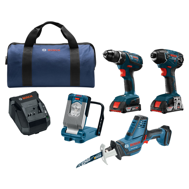 CLPK496A-181 18V 4-Tool Combo Kit with Compact Tough 1/2 In. Drill Driver, 1/4 In. Hex Impact Driver, Compact Reciprocating Saw, LED Worklight and (2) 2.0 Ah SlimPack Batteries