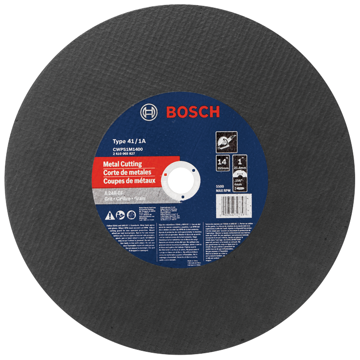 CWPS1M1400 14 In. 5/32 In. 1 In. Arbor Type 1A (ISO 41) 24 Grit Metal Cutting Bonded Abrasive Wheel