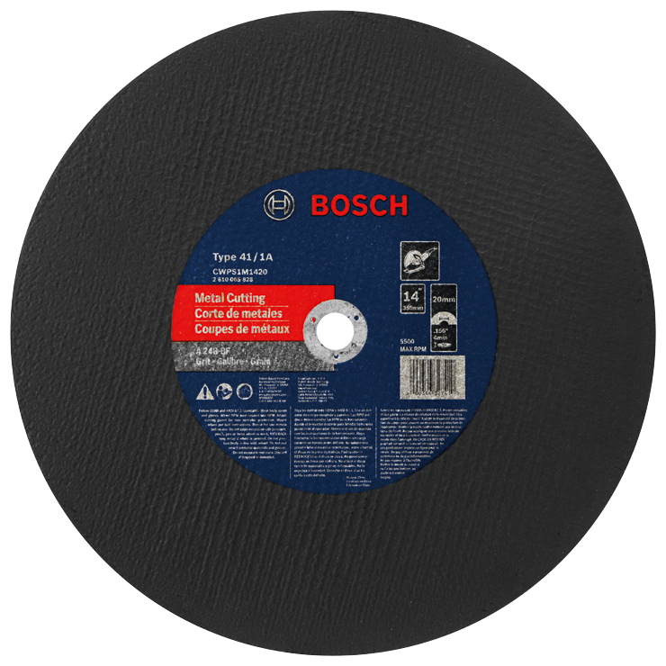 CWPS1M1420 14 In. 5/32 In. 20 mm Arbor Type 1A (ISO 41) 24 Grit Metal Cutting Bonded Abrasive Wheel