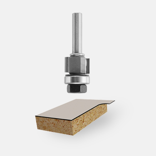 Carbide-Tipped Double-Flute Flush and Bevel Laminate Trim Assemblies