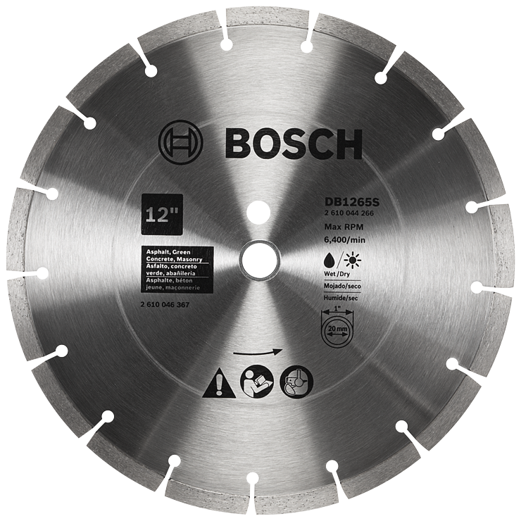 DB1265S 12 In. Standard Segmented Rim Diamond Blade for Soft Materials