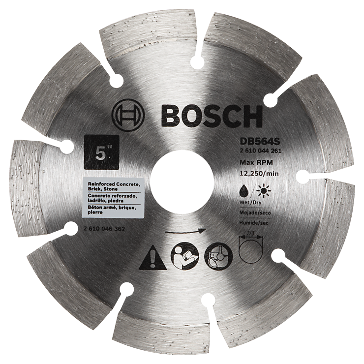 DB564S 5 In. Standard Segmented Rim Diamond Blade for Hard Materials