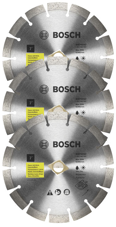 DB741SB3 3 pc. 7 In. Segmented Rim Diamond Blades for Universal Rough Cuts