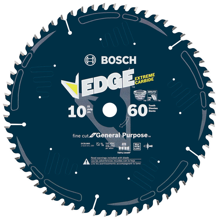 DCB1060 10 In. 60 Tooth Edge Circular Saw Blade for Fine Finish