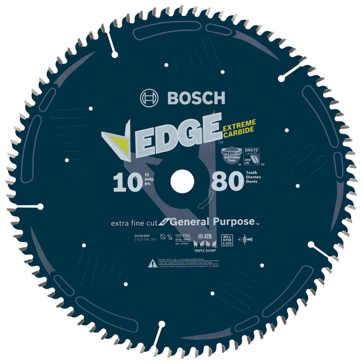 DCB1080 10 In. 80 Tooth Edge Circular Saw Blade for Extra-Fine Finish