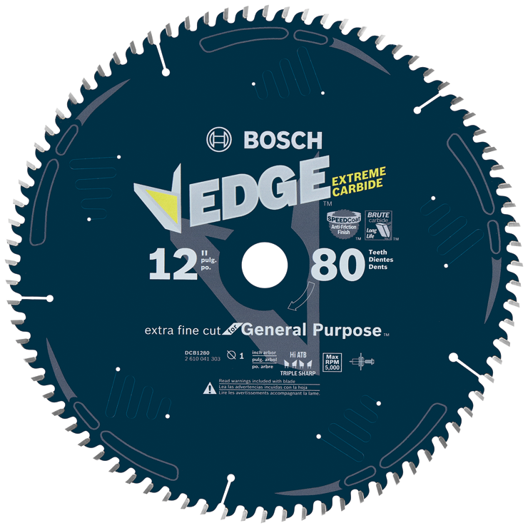 DCB1280 12 In. 80 Tooth Edge Circular Saw Blade for Extra-Fine Finish