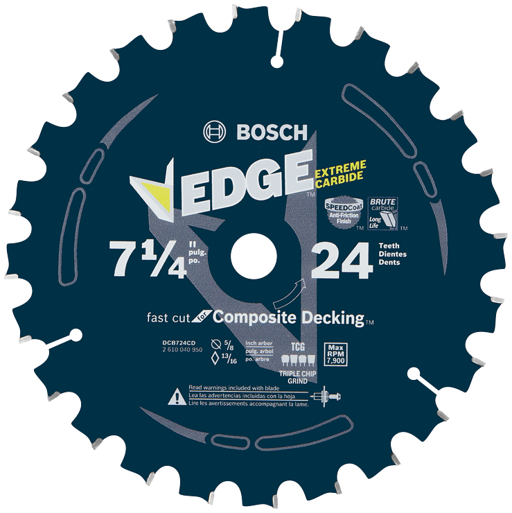 DCB724CD 7-1/4 In. 24 Tooth Edge Circular Saw Blade for Composite Decking