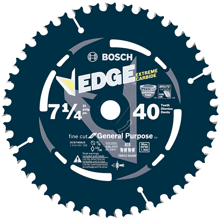 DCB740B10 10 pc. 7-1/4 In. 40 Tooth Edge Circular Saw Blades for Fine Finish (Bulk)