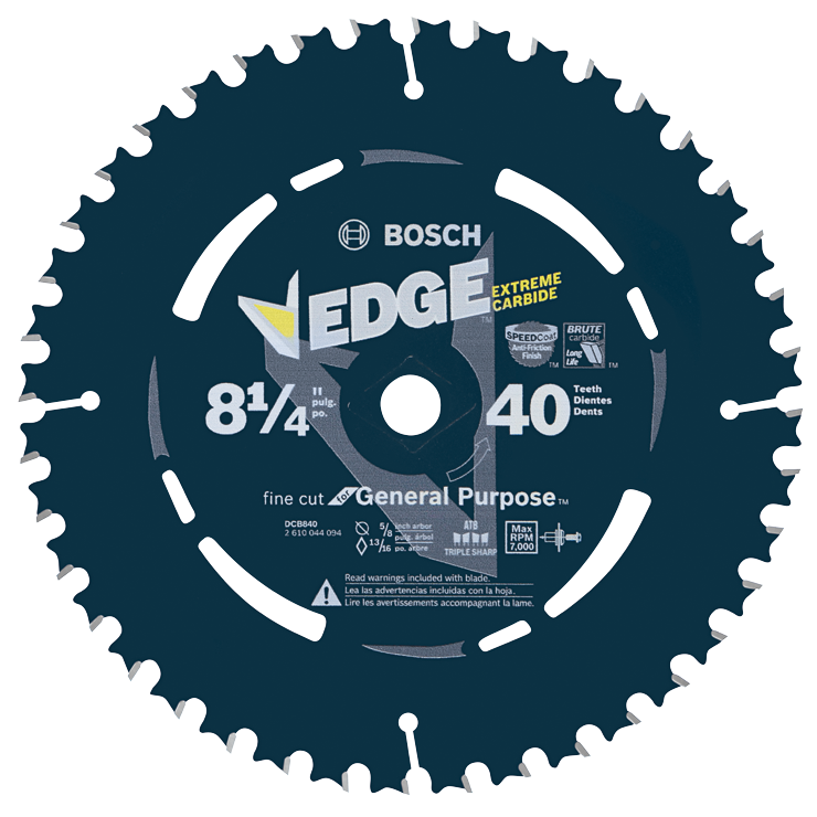 DCB840 8-1/4 In. 40 Tooth Edge Circular Saw Blade for Fine Finish
