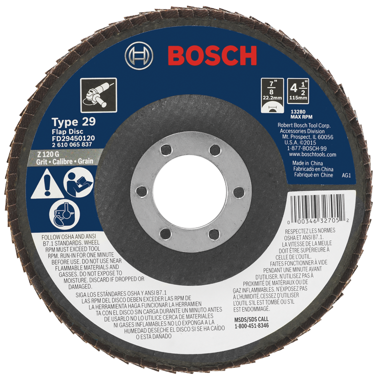 FD29450120 4-1/2 In. 7/8 In. Arbor Type 29 120 Grit Blending/Grinding Abrasive Wheel