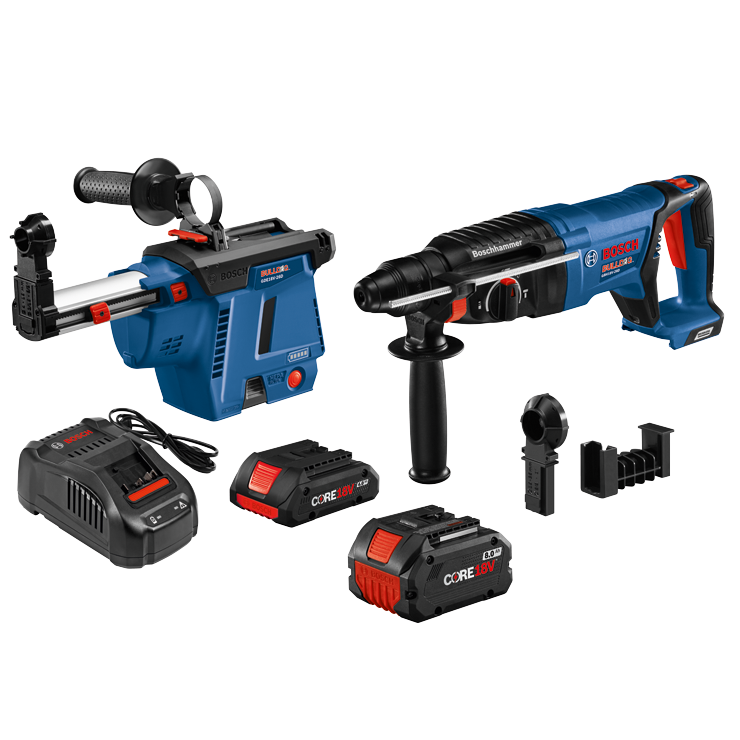 GBH18V-26DK26GDE 18V EC Brushless SDS-plus® Bulldog™ 1 In. Rotary Hammer Kit with Mobile Dust Extractor and (2) CORE18V Batteries