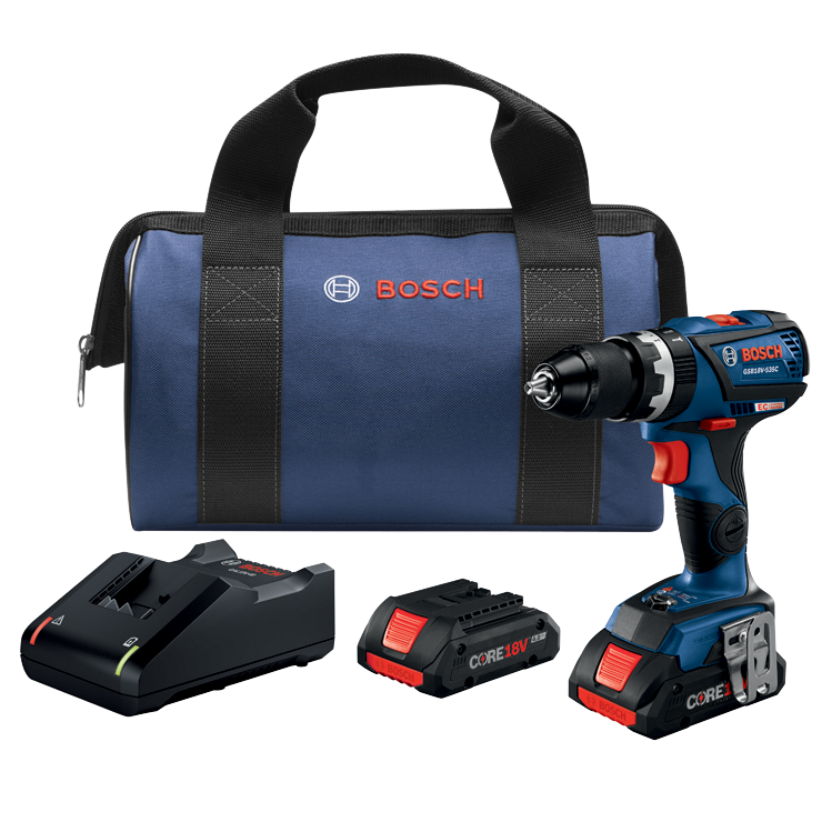 GSB18V-535CB25 18V EC Brushless Connected-Ready Compact Tough 1/2 In. Hammer Drill/Driver Kit with (2) CORE18V 4.0 Ah Compact Batteries