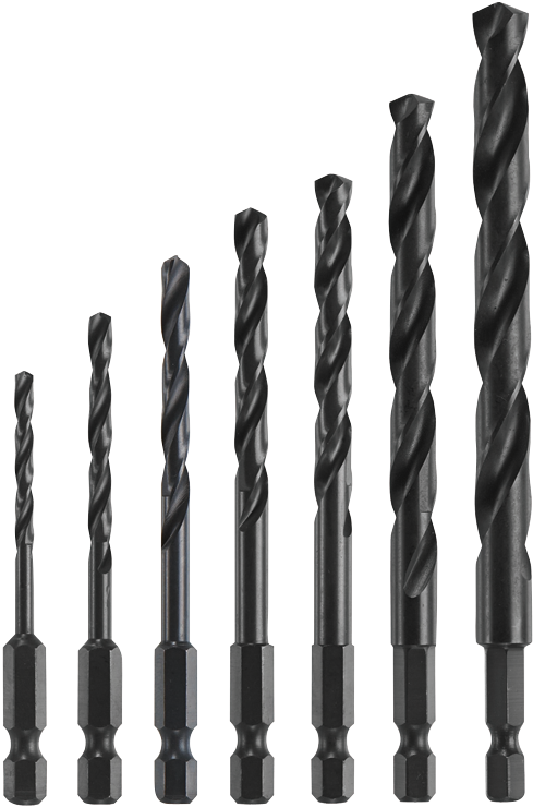 IMD5007 7-pc. Hex Shank Impact Tough Drill Bit Set, Black Oxide