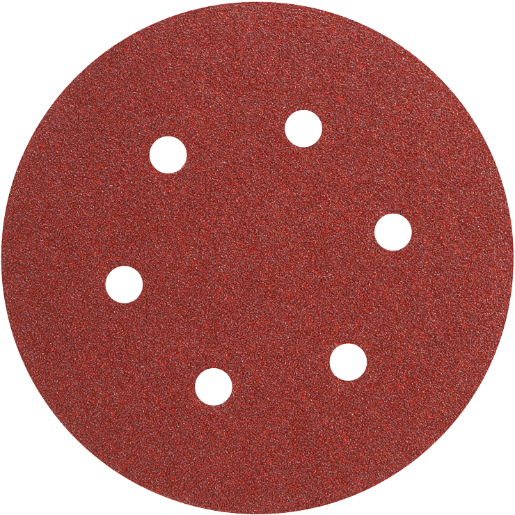SR6R080 5 pc. 80 Grit 6 In. 6 Hole Hook-And-Loop Sanding Discs