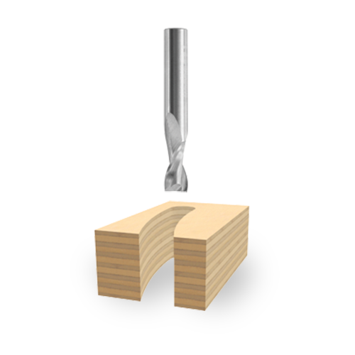 Solid Carbide Double-Flute Upcut Spiral Bits