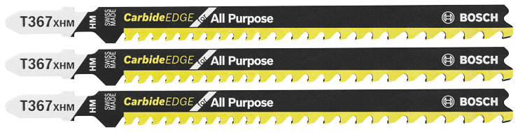 T367XHM3 3 pc. 5-1/4 In. 5-7 TPI Carbide Edge for All-Purpose T-Shank Jig Saw Blades