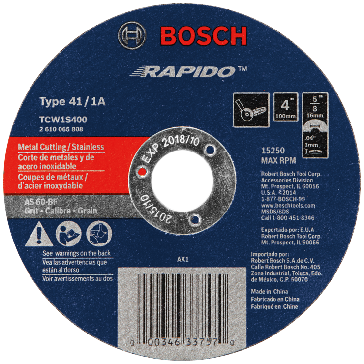 TCW1S400 4 In. .040 In. 5/8 In. Arbor Type 1A (ISO 41) 60 Grit Rapido™ Fast Metal/Stainless Cutting Abrasive Wheel
