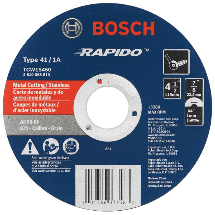 """BOSCH TCW1S450 4-1//2/"""" x .040 7//8/"""" Arbor Metal Cutoff Wheel"""
