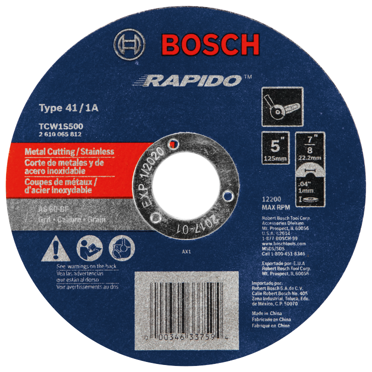 TCW1S500 5 In. .040 In. 7/8 In. Arbor Type 1A (ISO 41) 60 Grit Rapido™ Fast Metal/Stainless Cutting Abrasive Wheel