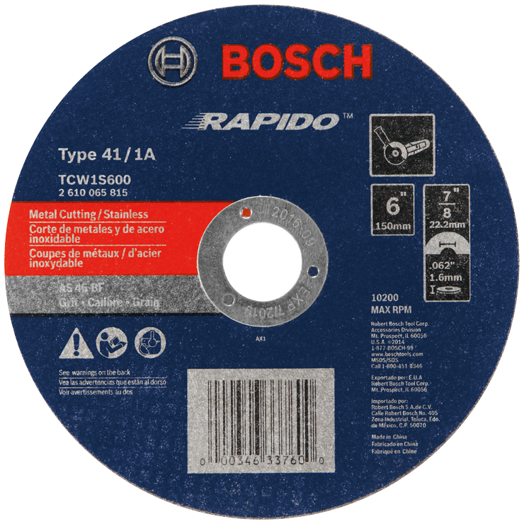 TCW1S600 6 In. 1/16 In. 7/8 In. Arbor Type 1A (ISO 41) 46 Grit Rapido™ Fast Metal/Stainless Cutting Abrasive Wheel