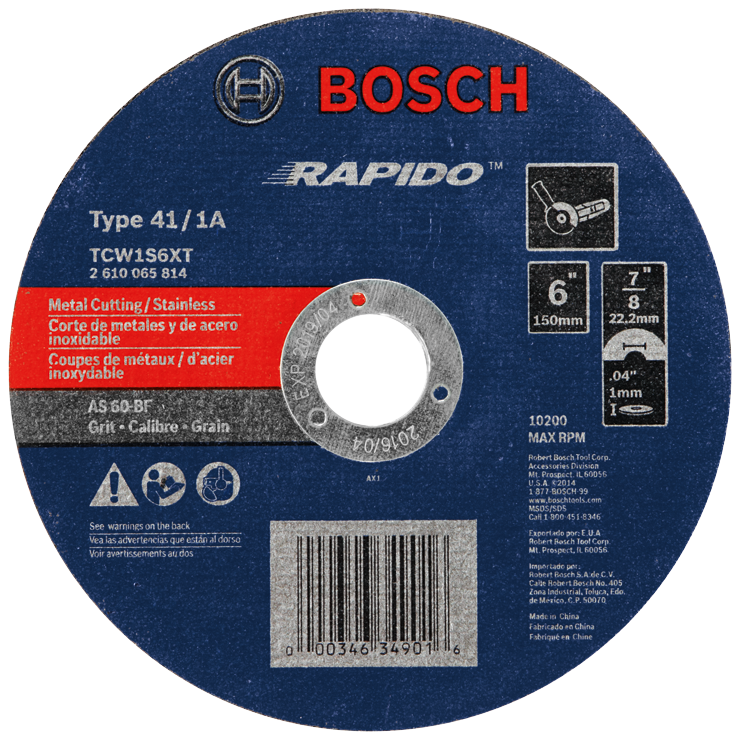 TCW1S6XT 6 In. .040 In. 7/8 In. Arbor Type 1A (ISO 41) 60 Grit Rapido™ Fast Metal/Stainless Cutting Abrasive Wheel
