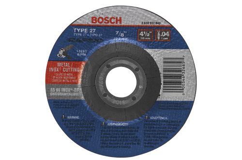 TCW27S500 5 In. .045 In. 7/8 In. Arbor Type 27A (ISO 42) 60 Grit Rapido™ Fast Metal/Stainless Cutting Abrasive Wheel