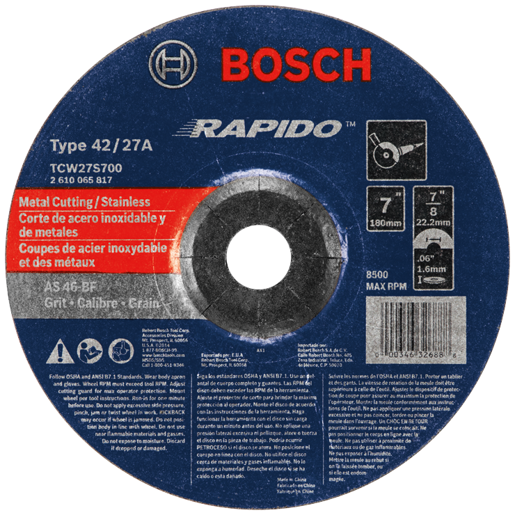 TCW27S700 7 In. 1/16 In. 7/8 In. Arbor Type 27A (ISO 42) 46 Grit Rapido™ Fast Metal/Stainless Cutting Abrasive Wheel