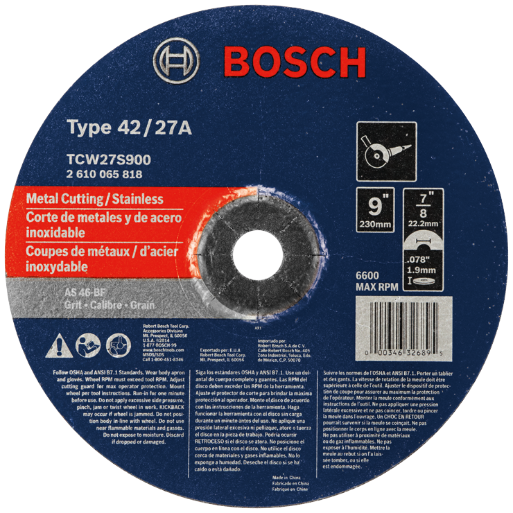 TCW27S900 9 In. 5/64 In. 7/8 In. Arbor Type 27A (ISO 42) 46 Grit Rapido™ Fast Metal/Stainless Cutting Abrasive Wheel
