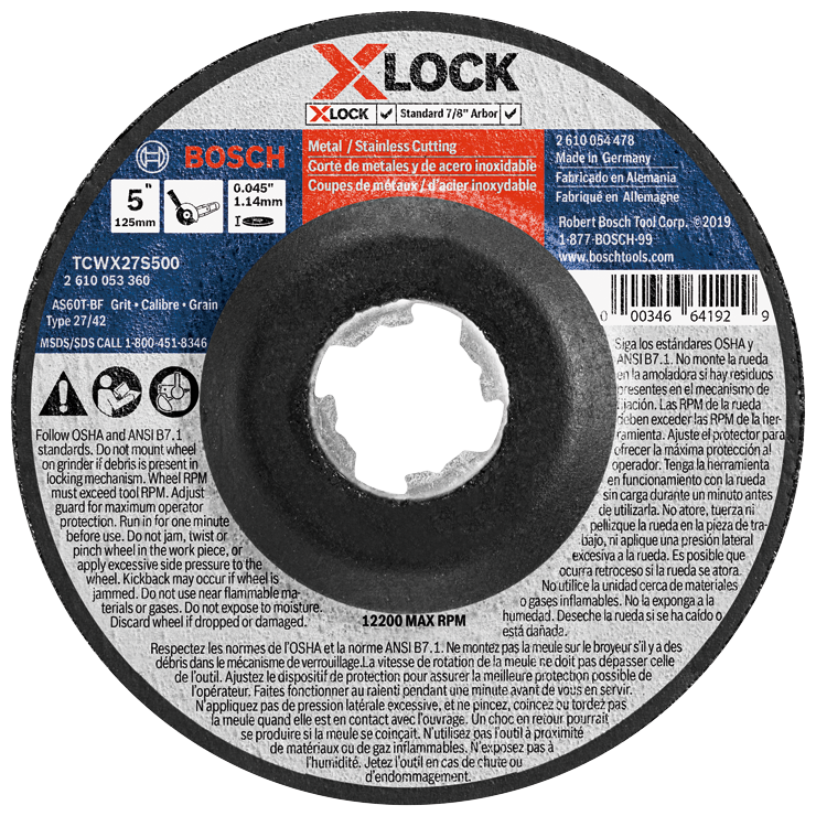 TCWX27S500 5 In. x .045 In. X-LOCK Arbor Type 27A (ISO 42) 60 Grit Fast Metal/Stainless Cutting Abrasive Wheel