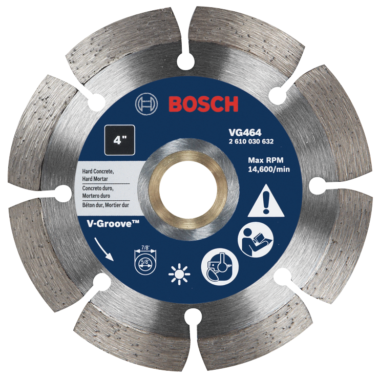 VG464 4 In. Segmented Rim V-Groove Diamond Blade for Hard Material