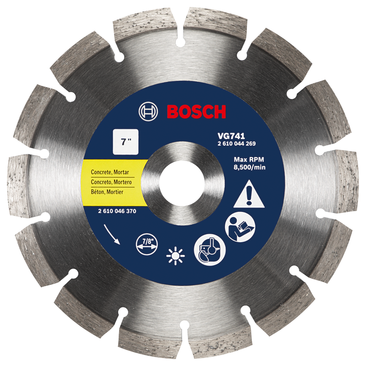 VG741 7 In. Segmented Rim V-Groove Diamond Blade for Universal Rough Cuts