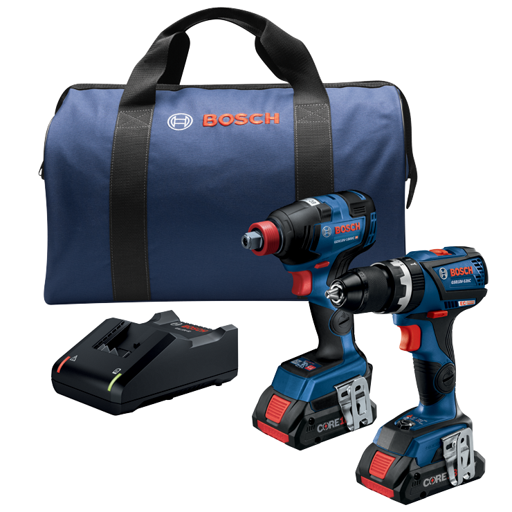 GXL18V-251B25 18V 2-Tool Combo Kit with Freak 1/4 In. and 1/2 In. Two-In-One Impact Driver, Compact Tough 1/2 In. Hammer Drill/Driver and (2) CORE18V 4.0 Ah Batteries