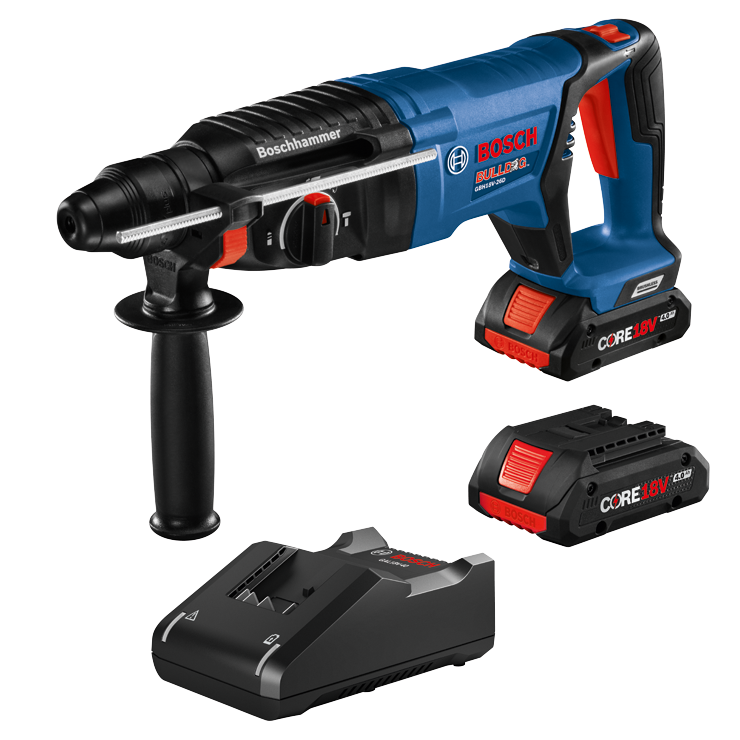 GBH18V-26DK25 18V EC Brushless SDS-plus® Bulldog™ 1 In. Rotary Hammer Kit with (2) CORE18V 4.0 Ah Compact Batteries