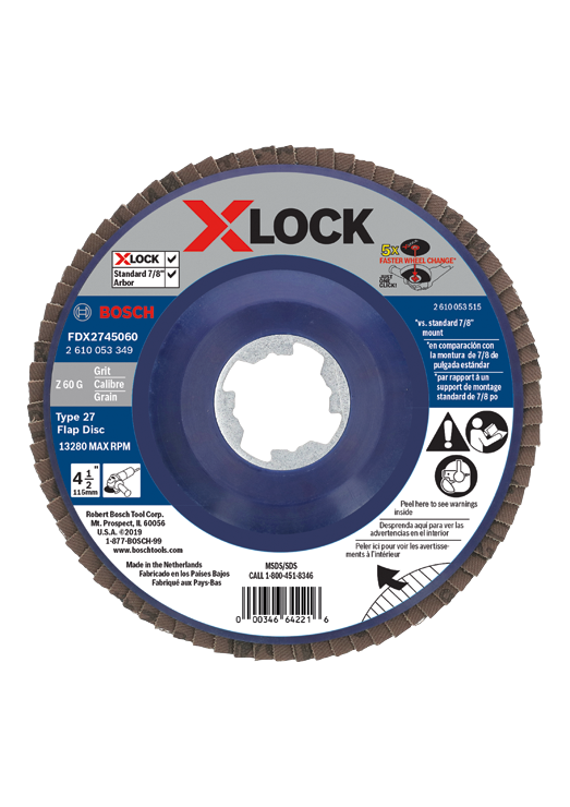 FDX2745060 4-1/2 In. X-LOCK Arbor Type 27 60 Grit Flap Disc
