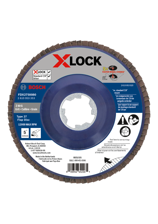 FDX2750080 5 In. X-LOCK Arbor Type 27 80 Grit Flap Disc