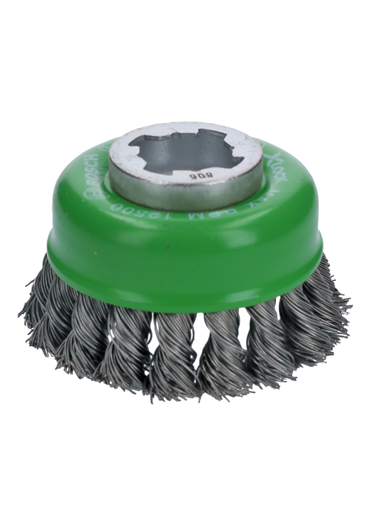 WBX329 3 In. Wheel Dia. X-LOCK Arbor Stainless Steel Knotted Wire Single Row Cup Brush