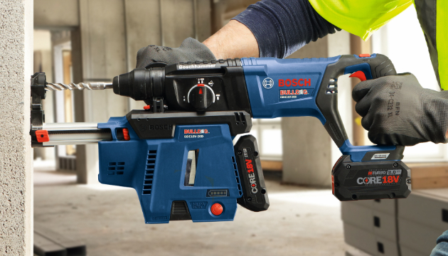 18V SDS plus rotary hammer drilling concrete with dust extraction